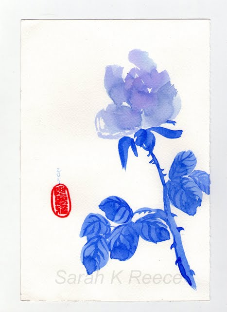 Blue Rose Ink on Paper 155 x 230mm