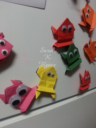 Gorgeous origami frogs made by a friend