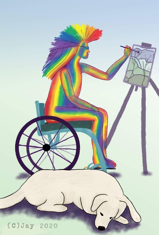 a digital artwork showing a white dog sleeping at the feet of a person in a wheelchair. The person is brightly rainbow coloured with punk mohawk hair and glasses. They are painting a landscape artwork on an easel.